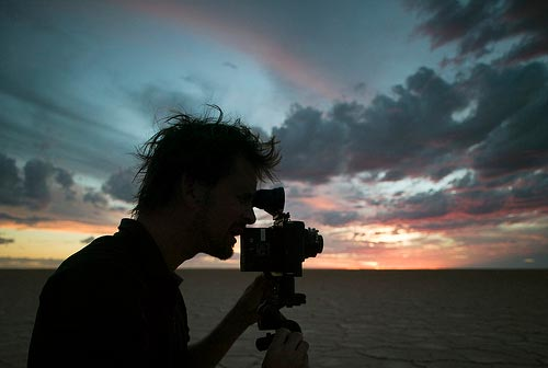 Salt: Murray Fredericks filming on Lake Eyre, closeup